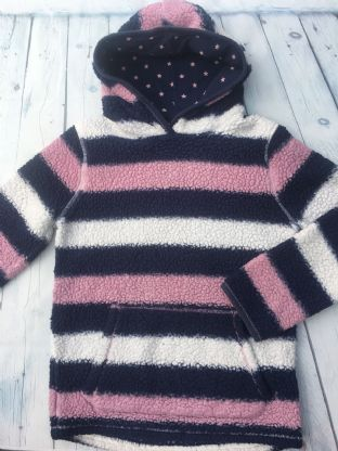 FatFace fluffy navy and pink striped hoodie age 10-11